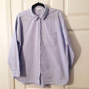 Beachlunchlounge Striped Button Shirt Blue White L